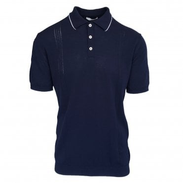Circolo 1901 Navy Knitted Polo with White Trim