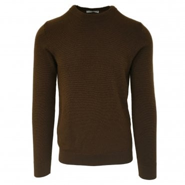 Circolo 1901 Textured Brown Crew Neck Jumper