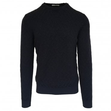 Circolo 1901 Textured Dark Blue Crew Neck Jumper