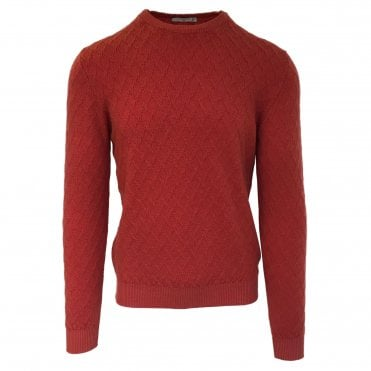Circolo 1901 Textured Red Crew Neck Jumper