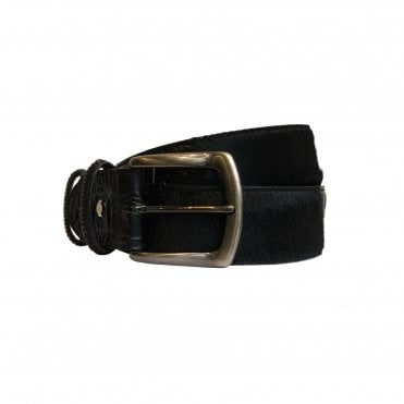 Elliot Rhodes Black Mock Caiman and Horse Hair Leather Belt