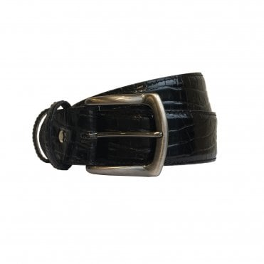 Elliot Rhodes Black Mock Caiman Leather Belt