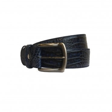 Elliot Rhodes Midnight Blue Mock Caiman Leather Belt