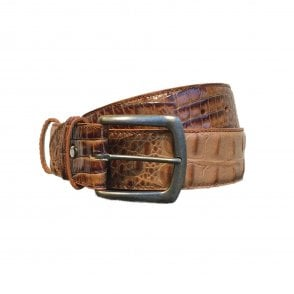 Elliot Rhodes Tan Mock Caiman Leather Belt