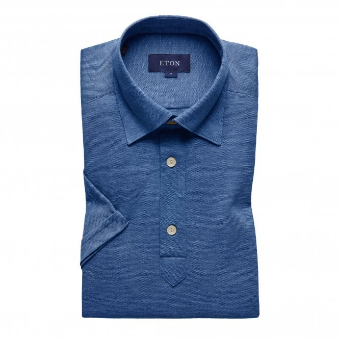 Eton Shirts Casual Fit Blue Cotton Mesh Eton Polo Shirt
