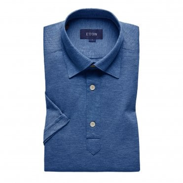 Casual Fit Blue Cotton Mesh Eton Polo Shirt