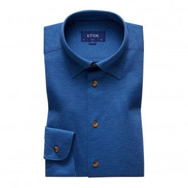 Casual Fit Blue Cotton Mesh Eton Shirt