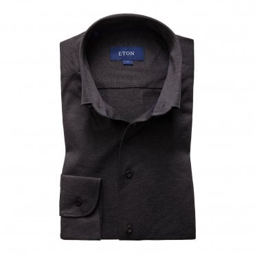 Casual Fit Charcoal Grey Cotton Mesh Eton Shirt