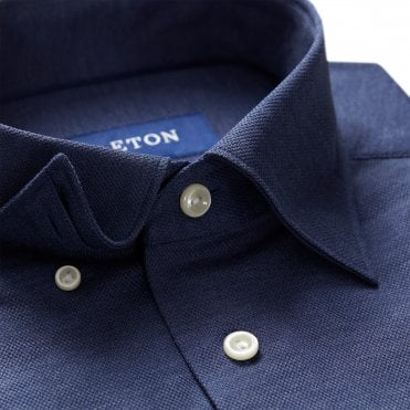 Casual Fit Dark Blue Cotton Mesh Eton Polo Shirt