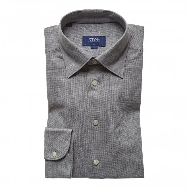 Eton Shirts Casual Fit Grey Cotton Mesh Eton Shirt