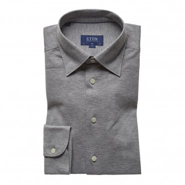 Casual Fit Grey Cotton Mesh Eton Shirt