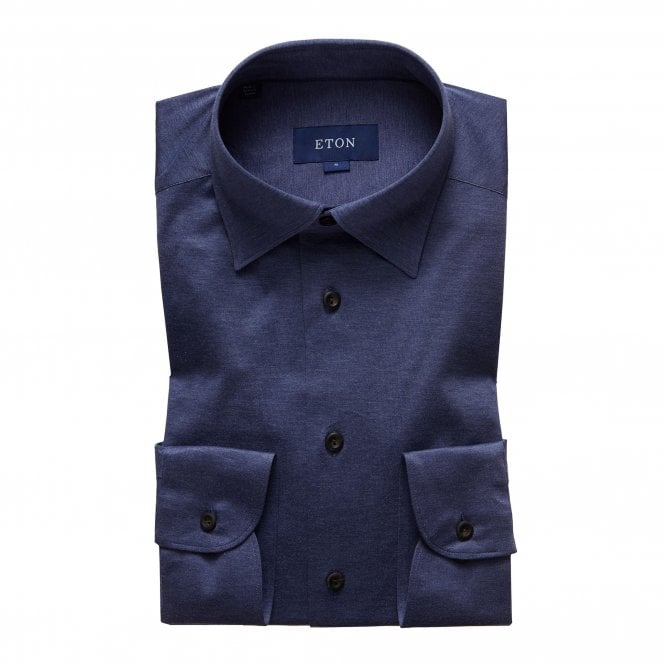 Eton Shirts Casual Fit Navy Blue Cotton Jersey Shirt