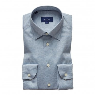 Eton Shirts Casual Fit Pale Blue Cotton Pique Shirt