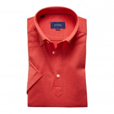 Casual Fit Red Cotton Mesh Eton Polo Shirt