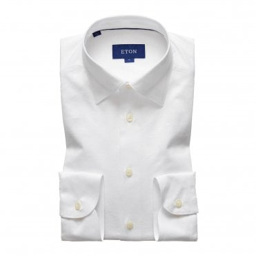 Eton Shirts Casual Fit White Cotton Jersey Shirt