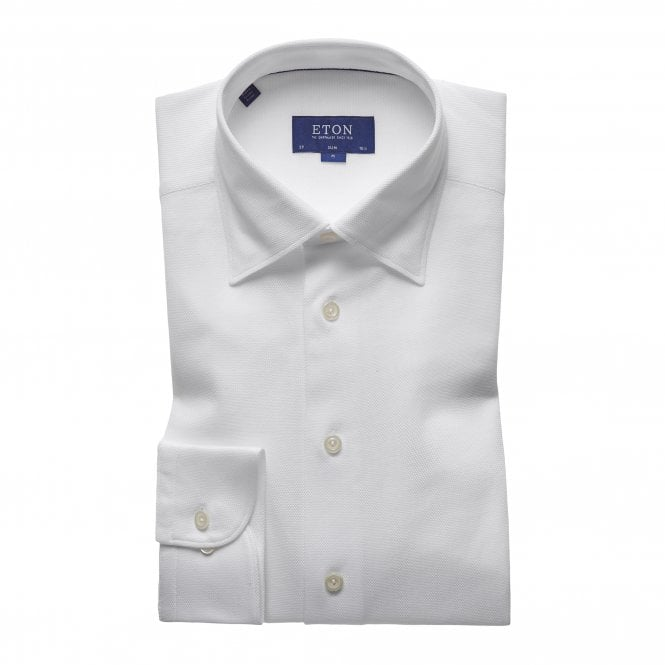 Eton Shirts Casual Fit White Cotton Mesh Eton Shirt