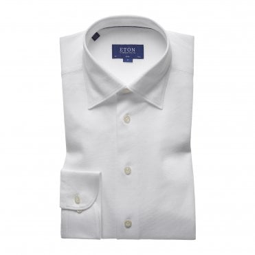 Casual Fit White Cotton Mesh Eton Shirt