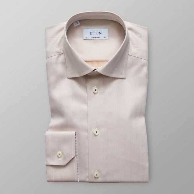 Eton Shirts Contemporary Fit Beige Herringbone Shirt 32537940734