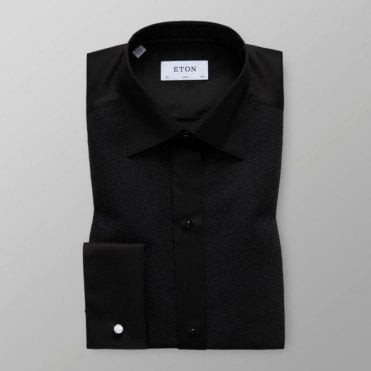 Eton Shirts Contemporary Fit Black Dress Shirt With Sparkled Effect 0455 70310 18