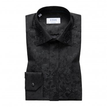 Contemporary Fit Black Eton Dress Shirt