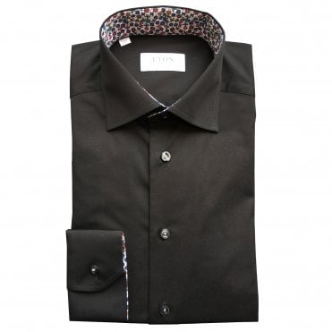 Contemporary Fit Black Eton Shirt With 'Micro Floral' Trim