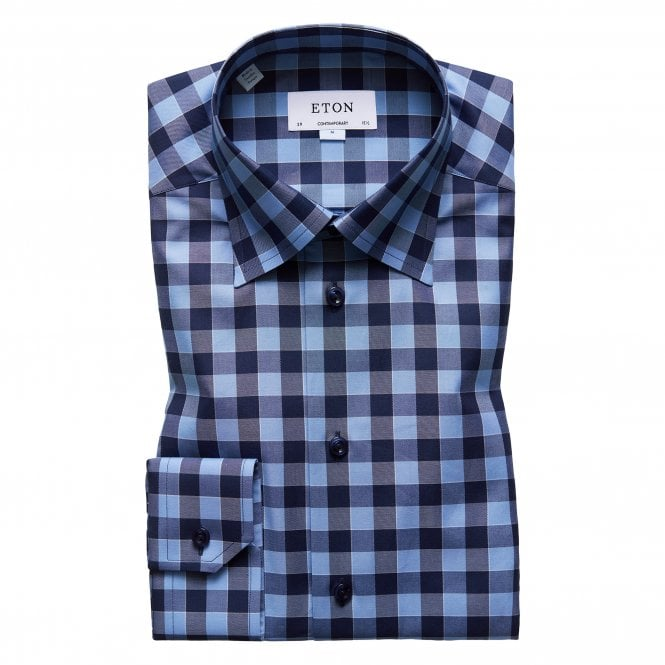 Eton Shirts Contemporary Fit Blue and Navy Check Eton Shirt With Navy Buttons