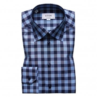 Contemporary Fit Blue and Navy Check Eton Shirt With Navy Buttons