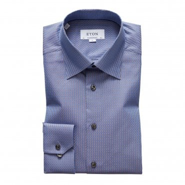 Eton Shirts Contemporary Fit Blue & Beige Jacquard Shirt