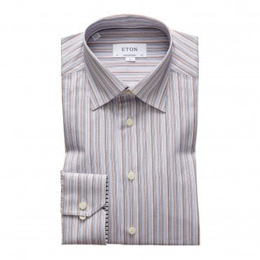 Eton Shirts Contemporary Fit Blue & Beige Stripe Shirt