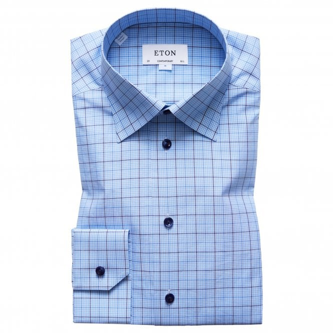 Eton Shirts Contemporary Fit Blue Check Eton Shirt With Navy Buttons
