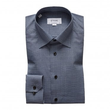 Eton Shirts Contemporary Fit Blue Checked Flannel Shirt
