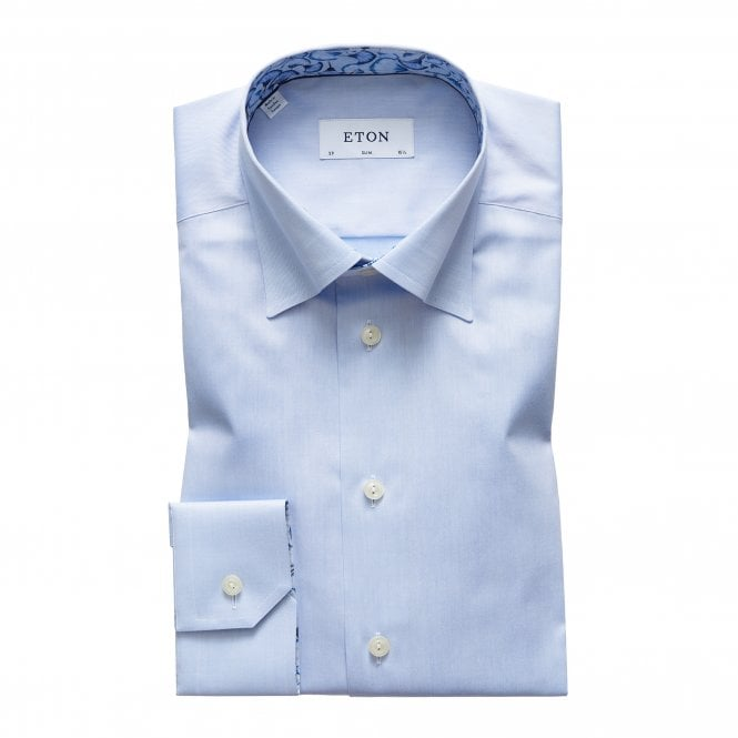 Eton Shirts Contemporary Fit Blue Eton Shirt with Floral Trim