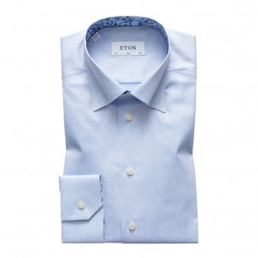 Contemporary Fit Blue Eton Shirt with Floral Trim