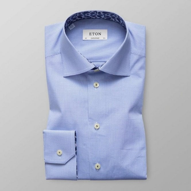 Eton Shirts Contemporary Fit Blue Geometric Pattern Shirt With Feather Trim 27167943625