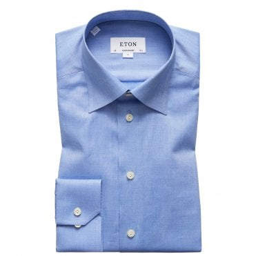 Contemporary Fit Blue Herringbone Button Under Eton Shirt
