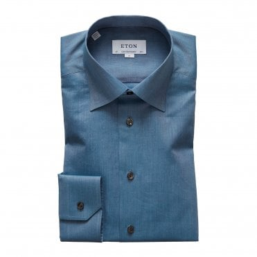 Eton Shirts Contemporary Fit Blue Lightweight Flannel Shirt