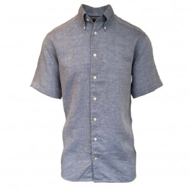 Contemporary Fit Blue Linen Eton Shirt