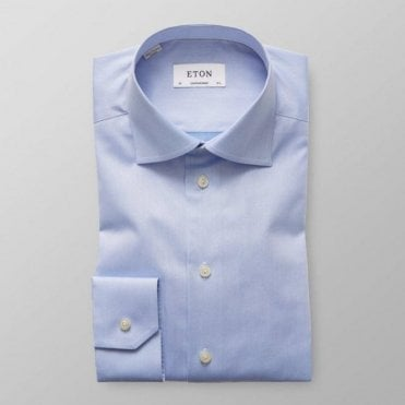 Eton Shirts Contemporary Fit Blue Signature Twill Cotton Shirt 30007951121