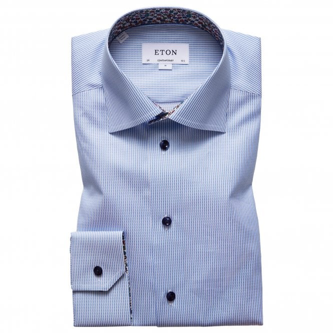 Eton Shirts Contemporary Fit Blue Stripe Eton Shirt With 'floral' Trim