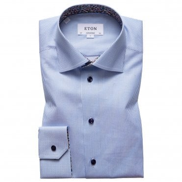Contemporary Fit Blue Stripe Eton Shirt With 'floral' Trim