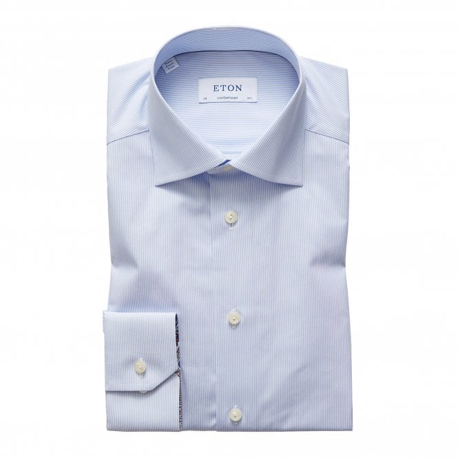 Eton Shirts Contemporary Fit Blue Striped Eton Shirt with Paisley Detailed Cuffs