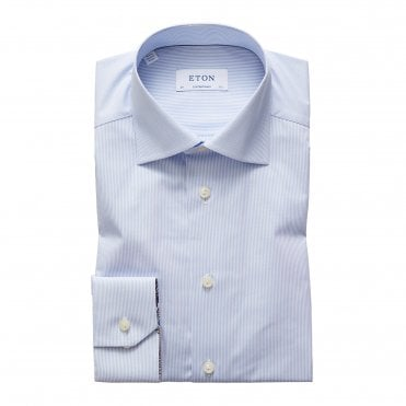 Contemporary Fit Blue Striped Eton Shirt with Paisley Detailed Cuffs