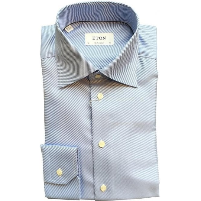 Eton Shirts Contemporary Fit Blue Striped Shirt With High Collar 33197131123
