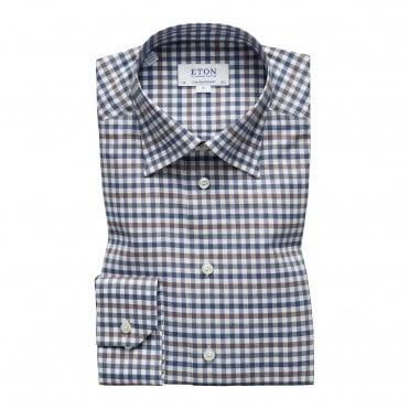 Contemporary Fit Brown and Blue Check Eton Shirt