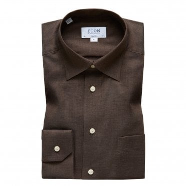 Contemporary Fit Brown Button Under Eton Shirt
