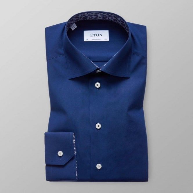 Eton Shirts Contemporary Fit Dark Blue Shirt With Floral Trim 25670047128