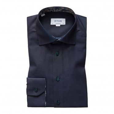Eton Shirts Contemporary Fit Dark Blue Shirt with Paisley Trim