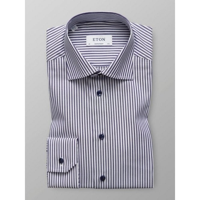 Eton Shirts Contemporary Fit Dark Blue Stripe Shirt 3316 79344 27
