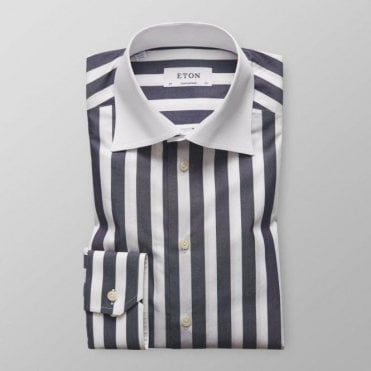 Eton Shirts CONTEMPORARY FIT Dark Blue Striped Long-Sleeve Shirt 3942 71329 29
