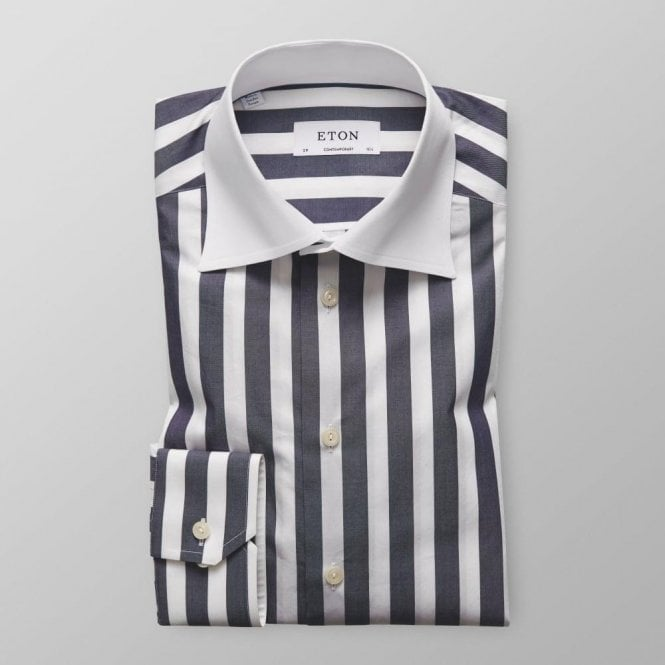 Eton Shirts CONTEMPORARY FIT Dark Blue Striped Long-Sleeve Single Cuff Shirt 3942 71329 29